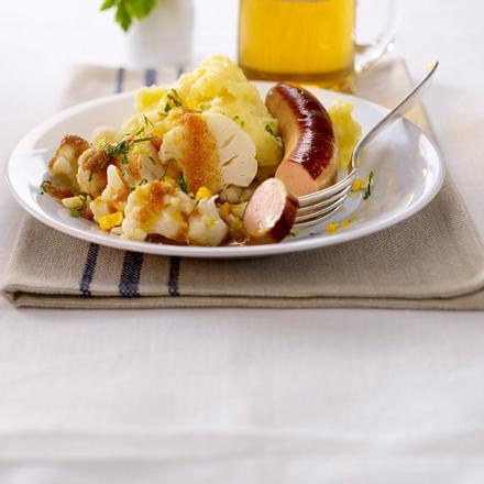 Blumenkohl polnisch zu Bratwurst und Kartoffelpüree Rezept