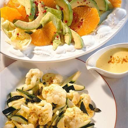 Blumenkohl-Zucchinisalat mit Currydressing Rezept