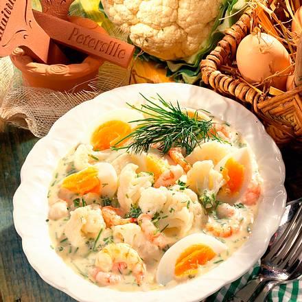 Blumenkohlragout mit Eiern und Shrimps Rezept