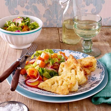 Blumenkohlschnitzel zu Süßkartoffel-Salat Rezept