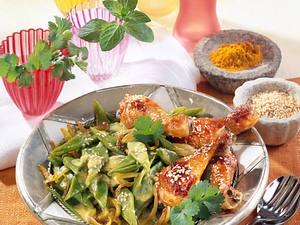 Bohnen-Curry zu Hähnchenunterkeulen Rezept