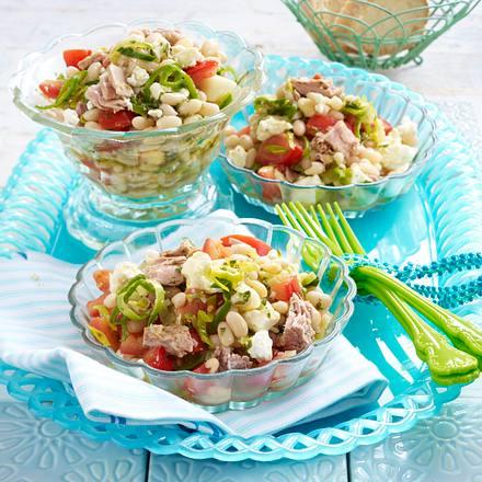 Bohnen-Feta-Salat mit Porree und Thunfisch Rezept