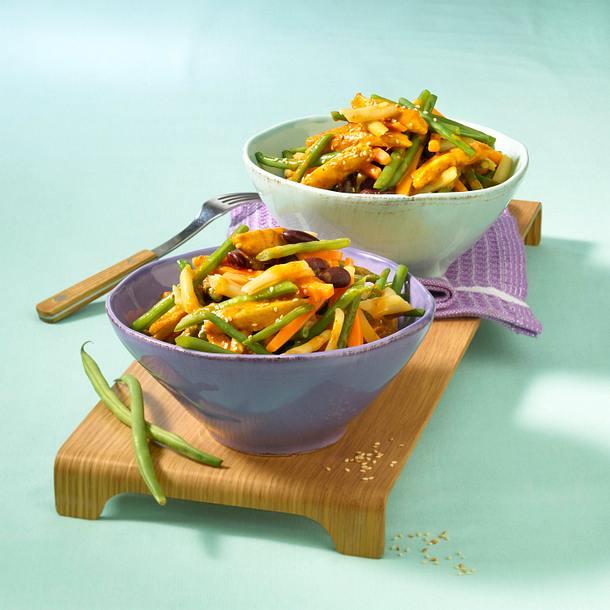Bohnen-Hähnchencurry aus dem Wok Rezept