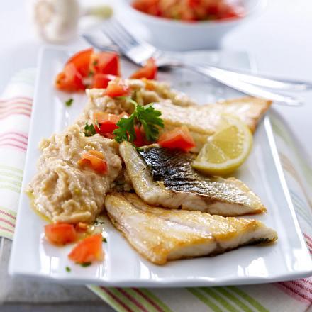 Bohnen-Knoblauch-Püree mit Fischfilet Rezept