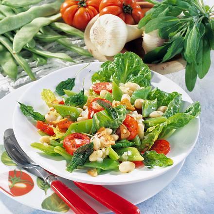Bohnen-Salat mit gebackenem Salbei Rezept