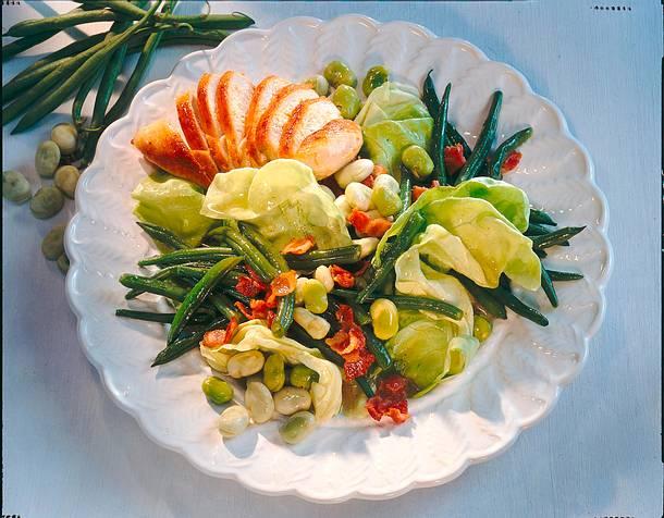 Bohnen-Salat mit Hähnchen Rezept