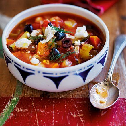 Bohneneintopf mit Feta und Oliven Rezept