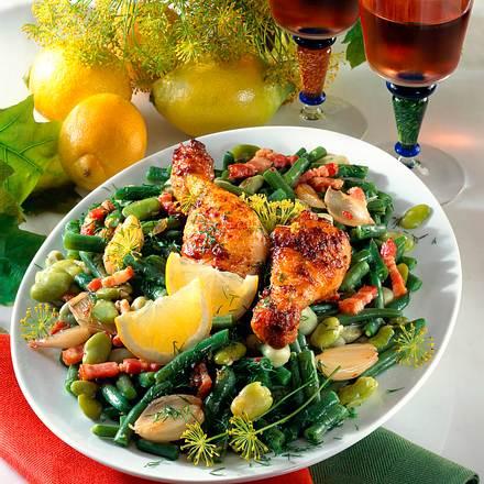 Bohnensalat mit Hähnchenkeulen Rezept
