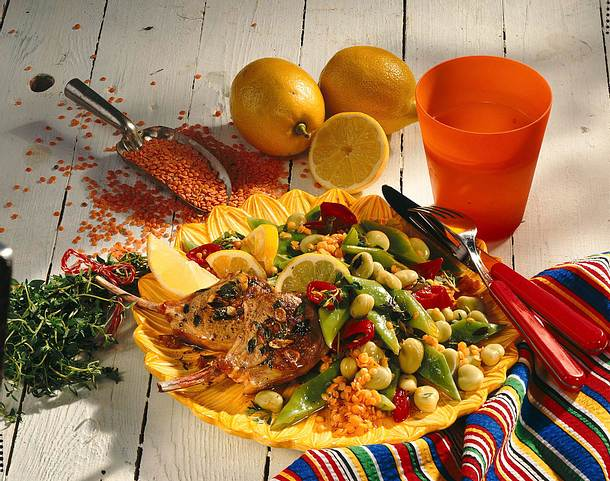 Bohnensalat mit Lammkoteletts Rezept