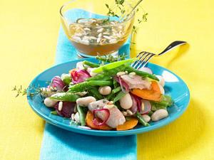 Bohnensalat mit Räucherforelle Rezept