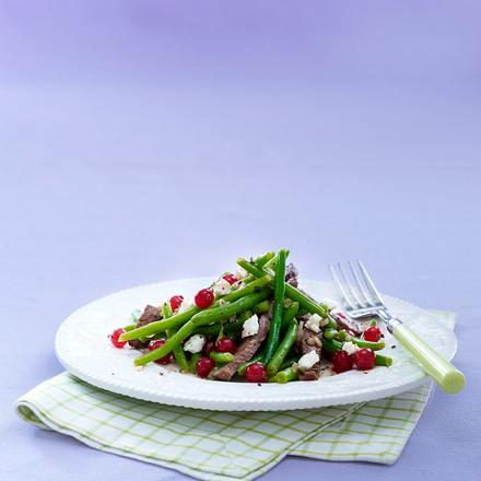 Bohnensalat mit Ziegenkäse und Huftsteak Rezept