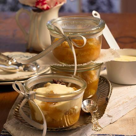 Bratapfelkompott aus dem Ofen mit Vanille-Joghurt im Glas Rezept