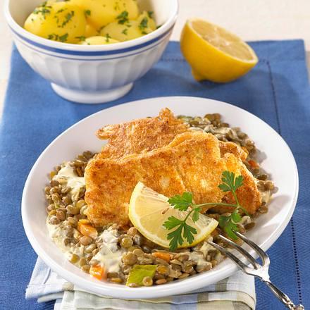 Bratfisch auf Senfrahm-Linsengemüse Rezept