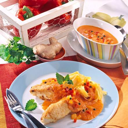 Bratfisch mit Paprika-Ingwer-Aprikosensoße Rezept