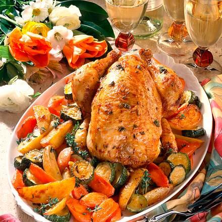 Brathähnchen mit Gemüse Rezept