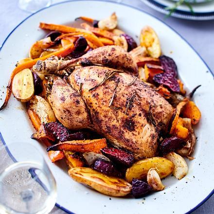 Brathähnchen mit Kartoffeln und Gemüse Rezept