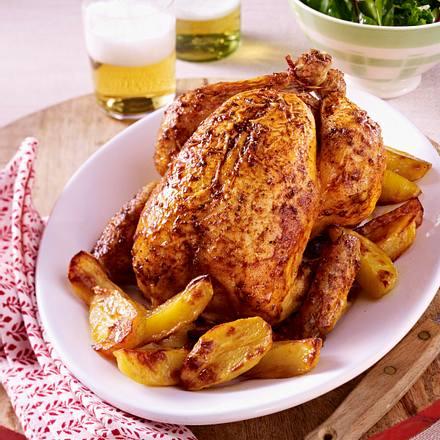 Brathähnchen mit Kartoffelspalten Rezept