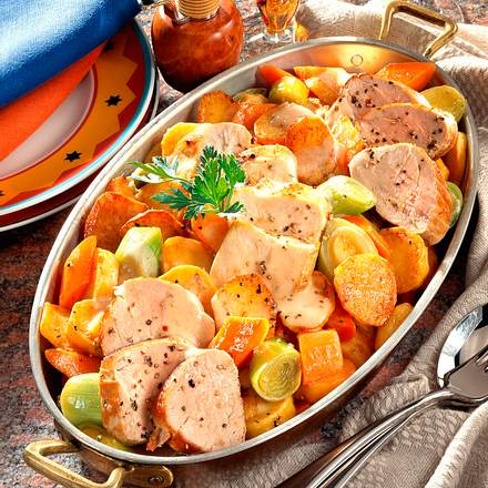 Bratkartoffel-Pfanne mit Schweine- und Hähnchenfilet Rezept