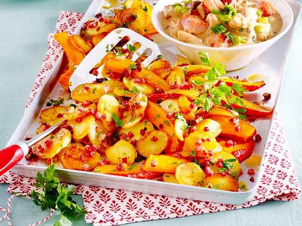 Bratkartoffeln mit Kürbis zu Kasseler-Geschnetzeltem