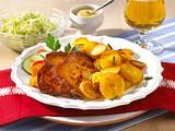 Bratkartoffeln mit Leberkäse und Krautsalat Rezept