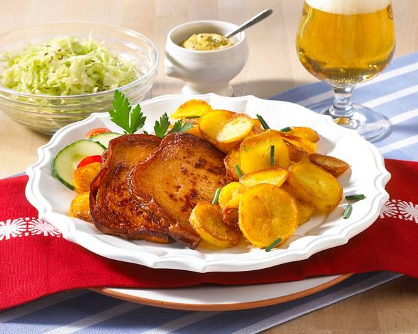 bratkartoffeln mit leberk se und krautsalat rezept chefkoch rezepte auf kochen. Black Bedroom Furniture Sets. Home Design Ideas