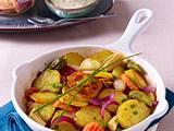 Bratkartoffeln mit Mixed Pickles zu Sauerfleisch und Remoulde Rezept