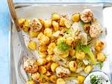 Bratkartoffeln vom Blech mit Putenbällchen Rezept