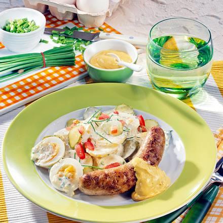 Bratwürstchen mit Kartoffel-Salat Rezept
