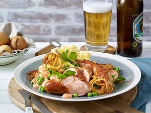 Bratwurst mit Röstzwiebeln und Rahmgemüse Rezept