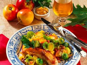 Bratwurst mit Rosenkohlgemüse Rezept