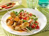 Bratwurst-Pilz-Spieße auf Tomatenreis Rezept