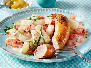 Bratwurst und Möhren-Kohlrabi-Gemüse Rezept