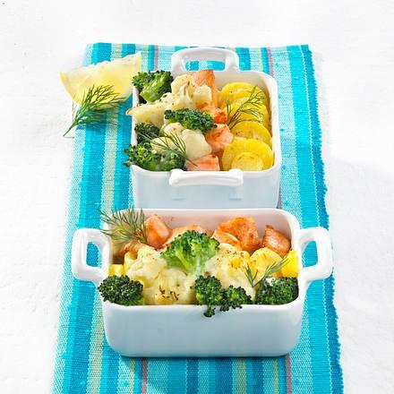 Broccoli-Blumenkohl-Auflauf mit Lachs Rezept