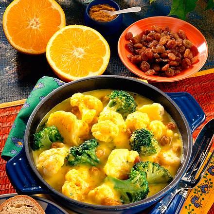 Broccoli-Blumenkohlpfanne in Curry-Orangensoße Rezept