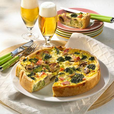 Broccoli-Champignon-Kuchen mit Kasseler Rezept