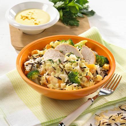 Broccoli-Reissalat mit Hähnchen Rezept