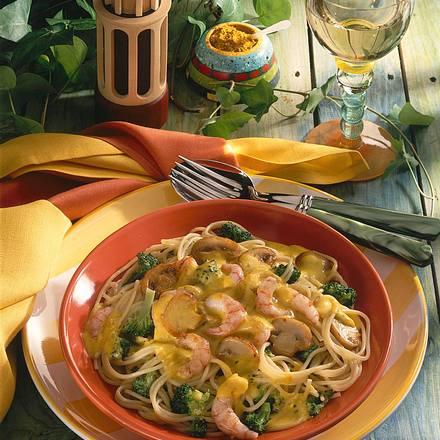 Broccoli-Spaghetti mit Curry-Sahne-Soße Rezept
