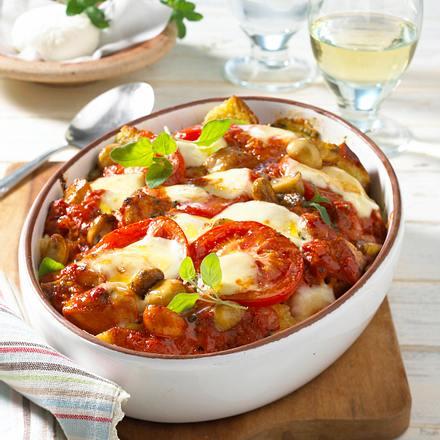 """Brotauflauf """"Tomate-Mozzarella"""" Rezept"""