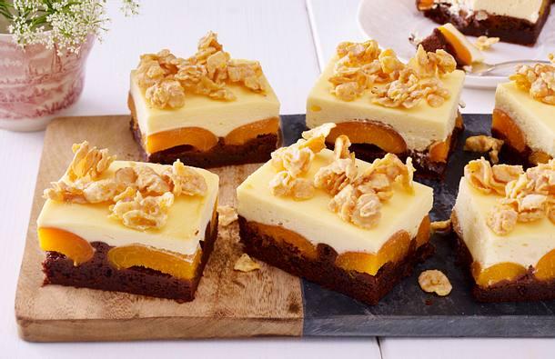 Brownie-Cheesecake mit Aprikosen Rezept