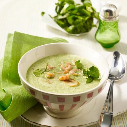 Brunnenkresse-Cremesuppe mit Krabben und Champignons Rezept