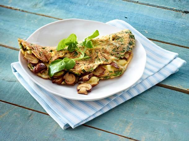 Brunnenkresse-Omelett mit Pilz-Käse-Füllung Rezept