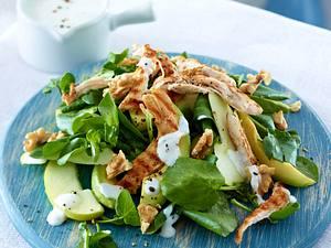 Brunnenkresse-Salat mit Hähnchenstreifen Rezept