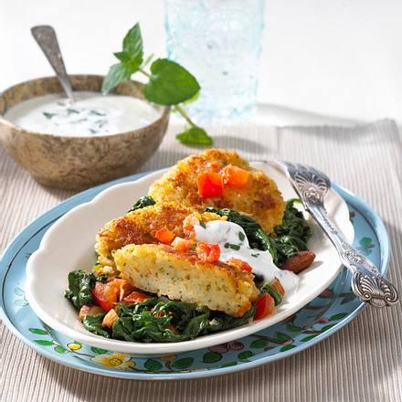 Bulgur-Buletten auf Mandel-Spinat Rezept