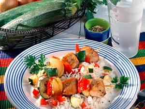 Bunte Filetspieße auf Reis Rezept