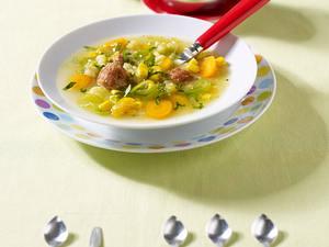 Bunte Gemüsesuppe mit Fleischklößchen Rezept