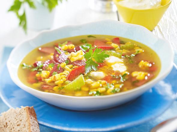Bunte Maissuppe mit Cabanossi und Schafskäse-Dip Rezept