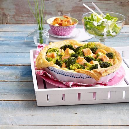 Bunte Quiche mit Lachs und Brokkoli Rezept