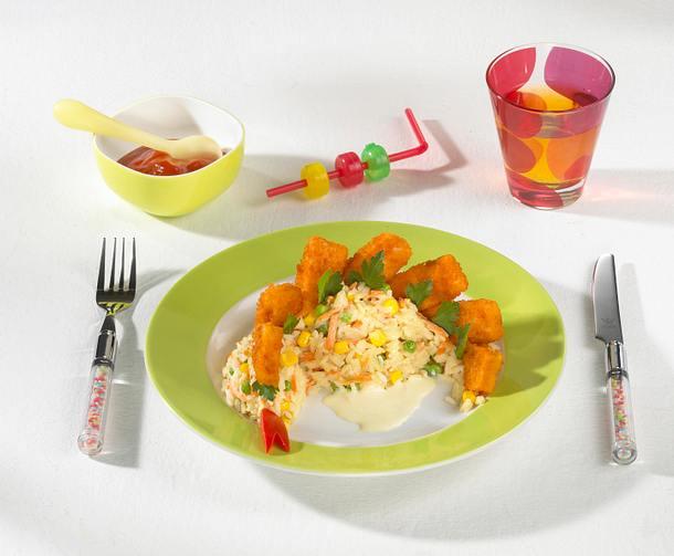 Bunte Reis-Dinos mit Fischstäbchen-Zacken Rezept