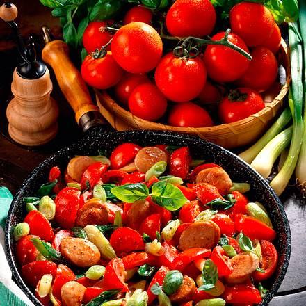 Bunte Tomaten-Lauchzwiebel-Pfanne Rezept
