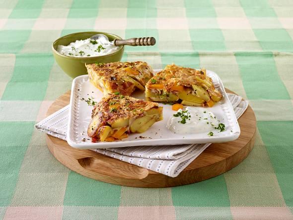 Bunte Tortilla mit Kräuterquark Rezept